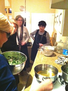 "Participants prepare a meal at Chabad of Arlington's ""Shabbat in An Hour,"" on Jan. 13. Those in attendance learned how to prepare quick, tasty Shabbat meals. 