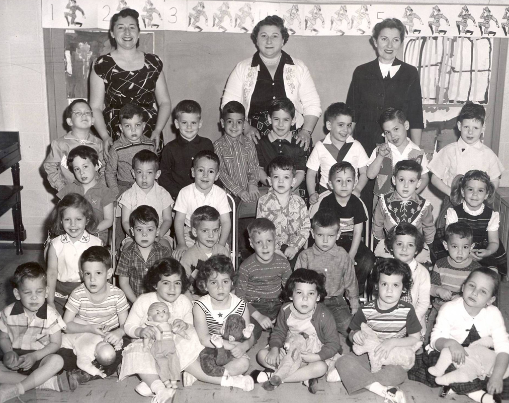 This photo of a 1950s preschool class at what is now the Lil Goldman Early Learning Center is part of an exhibit celebrating the preschool's 60th anniversary. How many of these kids do you know? | Photo: Fort Worth Jewish Archives