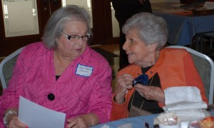 Mary Frances Antweil and Roz Rosenthal share a brief word at the recent Daytimers event March 13. | Photos: Courtesy of Barbara Rubin