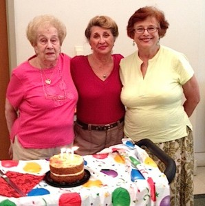 From left, Bernice Sandler, Bella Yeselson and Claudia Boksiner celebrate their birthdays during a recent get-together. | Photo: Hedy Collins