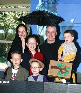 The Simanek family explores its roots during Family Day at Beth-El Congregation Religious School. Front row from left, Max Simanek and Leo Simanek. Back row, Valarie Simanek, Jack Simanek, Eric Simanek and Eli Simanek. | Photo: Ilana Knust