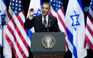 President Barack Obama speaks to Israeli students March 21 at the Jerusalem International Convention Center. | Photo: Uriel Sinai/Getty/JTA
