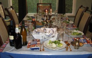 A beautiful seder table, such as the one shown above, is a wonderful place for family and friends, both Jews and non-Jews, to share the holiday and celebrate the traditions.