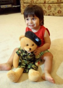 Eli Kasten with his stuffed toy.