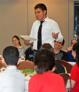 LULAC member Juan Belman speaks during the Texas Hillel's Latino-Jewish seder last month. | Photo: Courtesy Texas Hillel