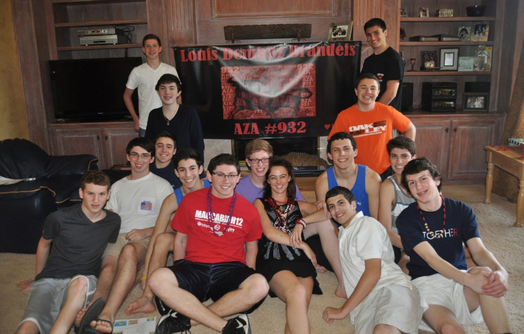 BBYO Louis Brandeis #932 chapter members participating in the sale of 2013 AZA cards include, front row from left, Josh Collins, Zach Trotter, chapter sweetheart Lauren Siegel, Evan Cantor and Jason Shindler. Second row, Elliott Galanter, Aaron Herschberg, Jacob Herstein, Matt Engelson, Cameron Smith and Mitchell Bradley. Third row, Ryan Sukenik and Noah Adler. Back row, Jonah Silverthorn and Braden Fineberg. | Photo: Deb Silverthorn