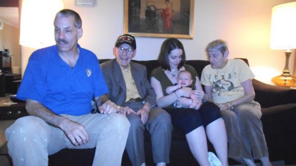 Generations The family of TJP columnist Harriet Gross is fortunate to have five generations alive and well. Shown here are from left: Sol Marcus, Harriet's son and grandfather of the newest arrival; Irwin Roth, a 90 year-old World War II veteran, who is Harriet's uncle and the new baby's great-great-great uncle; Lena Marcus Krutilla, Harriet's granddaughter, holding her son; and great-grandma Harriet. The baby, Andrew Robert Krutilla, is named for his maternal great grandfather, Dr. Robert Eisner of Pittsburgh, Penn., where the Roth, Marcus and Krutilla families live today. | Photo: Courtesy of Harriet Gross