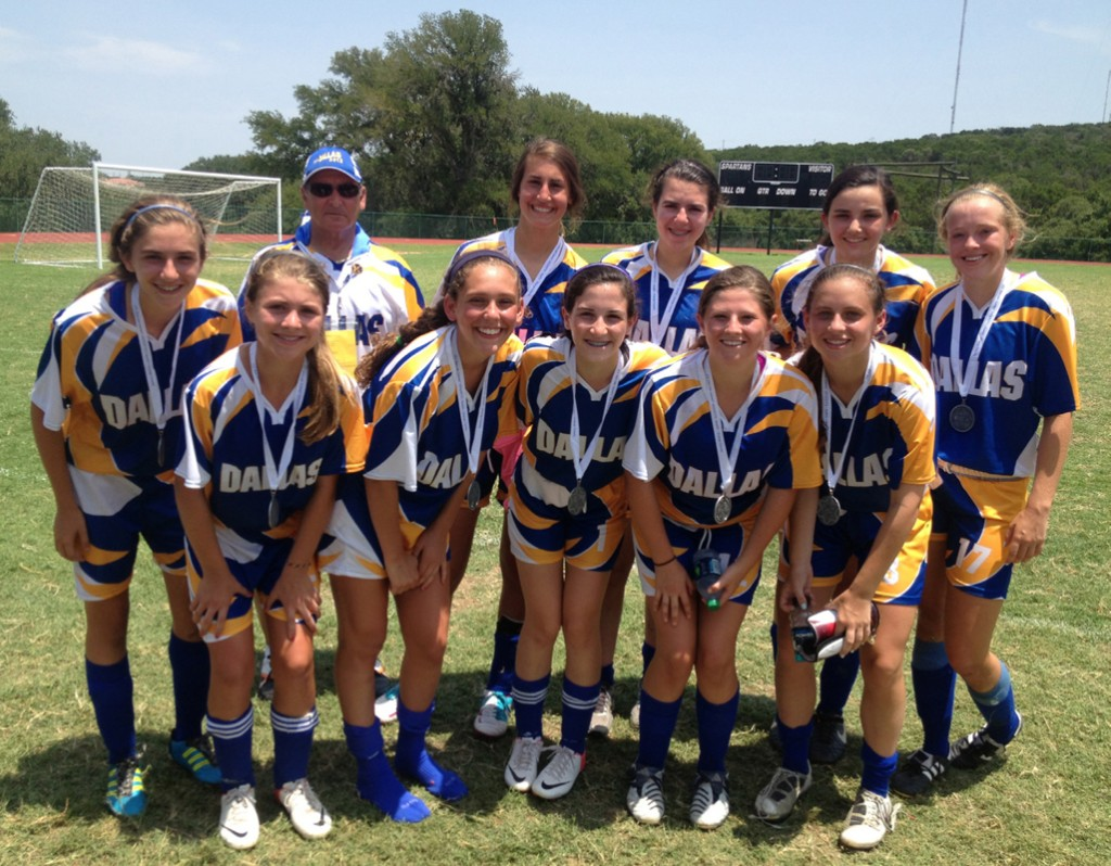 Bringing home the silver are Team Dallas' Girls 16U soccer team. From left, back row, Lindsay Harmon, Coach Alan Sandler, Carly Miller-Mandel, Ilana Perkins, Talia Meidan and Emily Wright. Front row, Madison Cook, Molly Bendalin, Elise Andres, Abby Shosid and Macy Golman.
