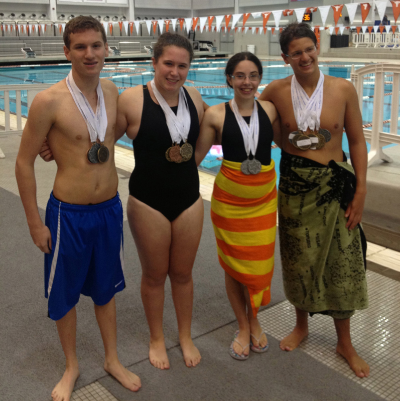 Bringing home a cache of Maccabi medals from Austin are from left, Josh Collins, Sarah Balis, Elise Eisenberg and Austin Krohn.