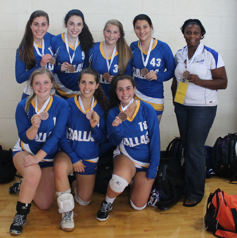 The Girls 16U volleyball team brought home a bronze medal from the Austin Maccabi Games. Shown from left are back row, Amanda Steinborn, Jenna Katz, Gaby Schultz and Michelle Mankoff  and Coach Dewanda Hurd. Front row, Michelle St. Louis, Emily Wright and Alexis Kane. Not pictured Risa Mond.