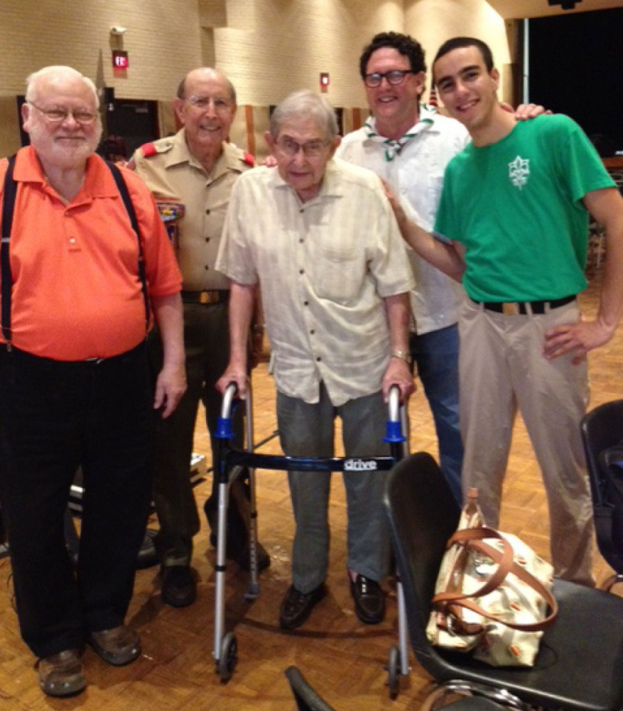From left, former Scoutmaster Ted Blum, Chartered Organization Representative of BSA Troop 729 Buddy Gilbert, Jewish Committee on Scouting member Charles Marcus, Jewish Committee on Scouting member David Abrams and Israel ScoutEldad Giladi. | Photo: Courtesy of Buddy Gilbert
