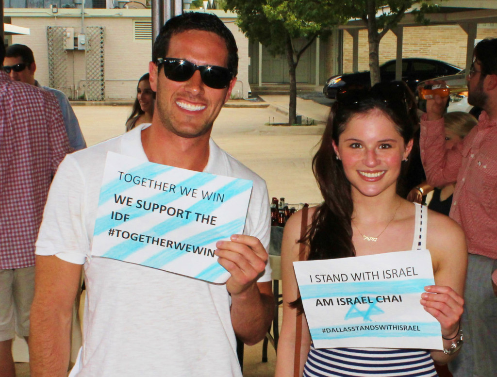 Jack Stone and Michelle Joffe proudly show their support for Israel at the barbecue. | Photos: Courtesy of Rabbi Zvi Drizin