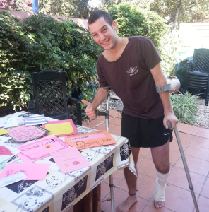 Rosh Hashanah cards from Congregation Shearith Israel's Weitzman Religious School students cheered wounded Israeli solidier Nimrod Mugzach. | Photo: Courtesy of Dina Eliezer