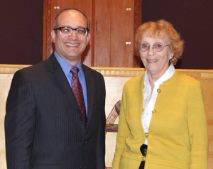 Anneliese Nossbaum shown here with Rabbi Ben Sternman, spoke at Adat Chaverim Friday, Nov. 14. | Photo: Adat Chaverim