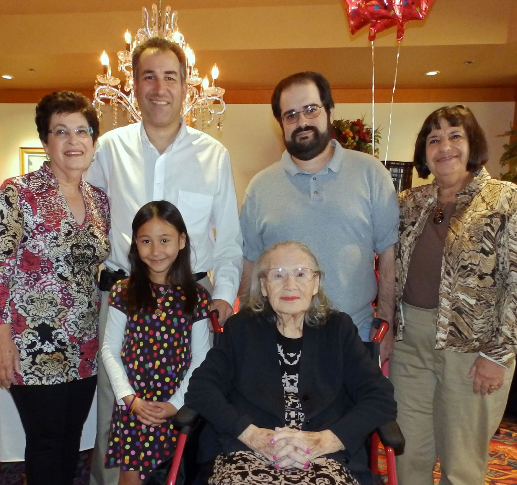 Mazal tov to Sally Levine, who recently celebrated her 102nd birthday with family and friends at Windsor Senior Living. Sally is still a sharp lady, who journals every day. Pictured from left with Sally are her niece Marilyn Gray, her great nephew Neal Gray with his daughter, her great-great niece Allison Gray, her great nephew David Brill and her niece Ilene Brill. | Photo: Courtesy Ilene Brill