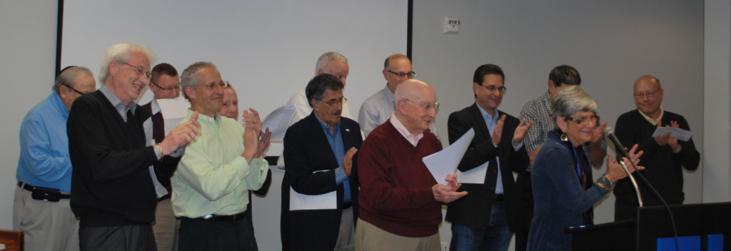 "JCC past presidents sing ""You are the J"" to staff and volunteers at an appreciation luncheon for their hard work at the Aaron Family JCC, Dec. 11. 