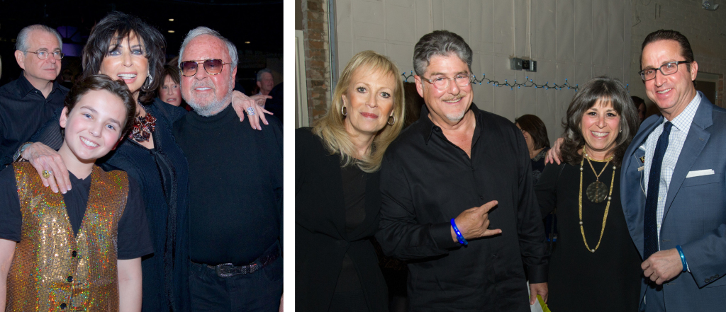 LEFT: Performer Sam Horowitz is seen here with his grandparents Carol and Steve Aaron. RIGHT: Pictured from left are Sherry Goldberg, Stuart Prescott, Myra Prescott and Alan Shor.