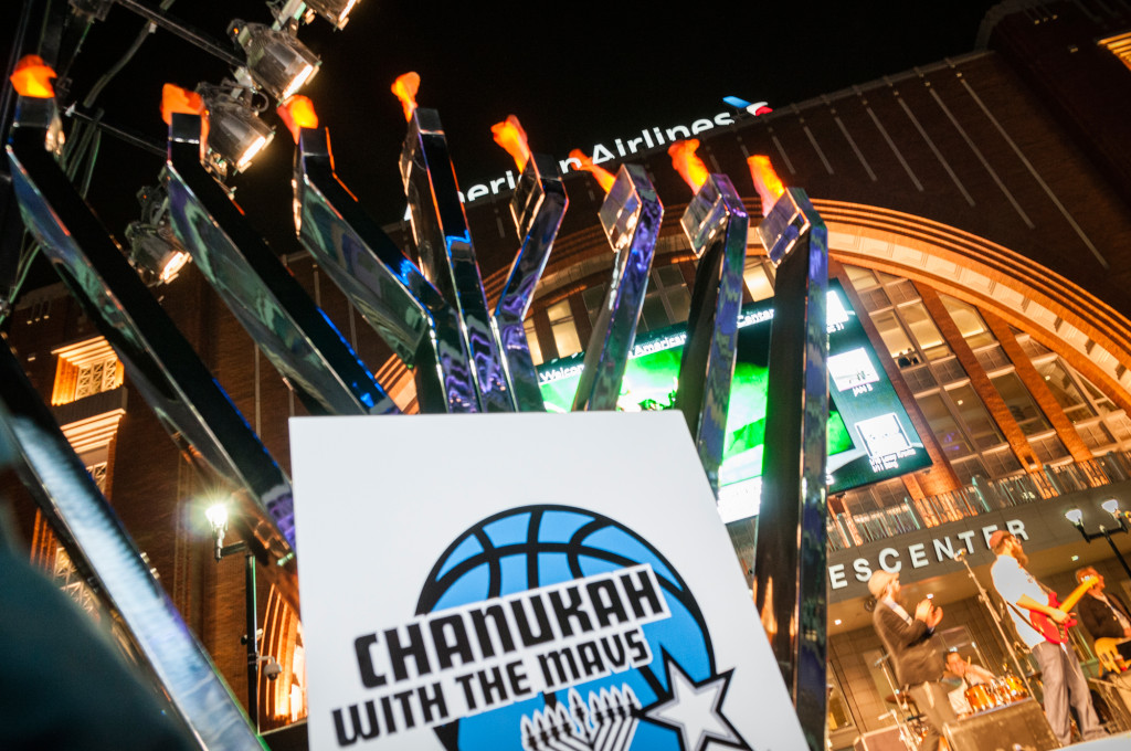 A giant chanukyiah was on display at the AT&T Plaza at Chanukah with the Mavs. | Photos: Trevor Kobrin