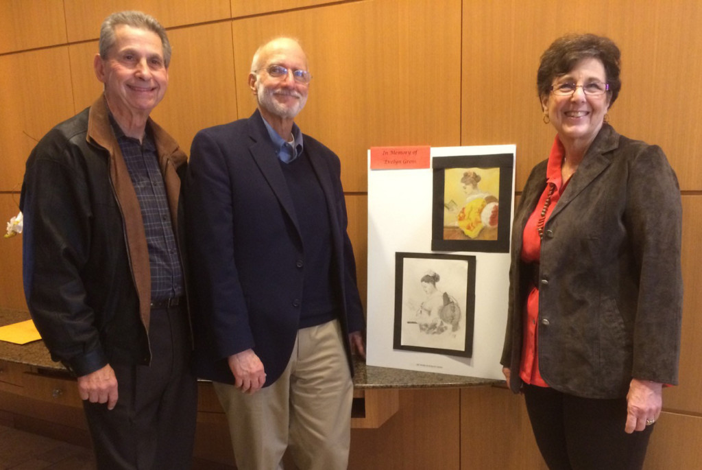 Harold Rubinstein, Alan Gross and Bonnie Gross Rubinstein with Evelyn Gross' art