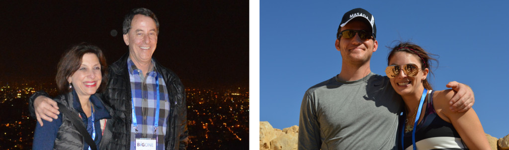LEFT: Felice and Harold Leidner on top of Azrieli Towers RIGHT: Leigh Gernsbacher and Braden White at Masada