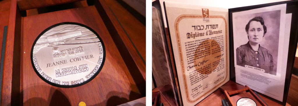"LEFT: Even posthumously, the honor bestowed on Coiffier is significant, Teichman said. RIGHT: Jeanne Coiffier was proclaimed ""Righteous Among The Nations"" by Yad Vashem."