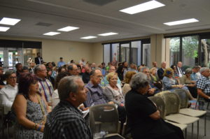 Photo: Sharon Wisch-Ray Both sessions of the Israel Symposium BDS panel discussion were packed at Temple Shalom Aug. 7.