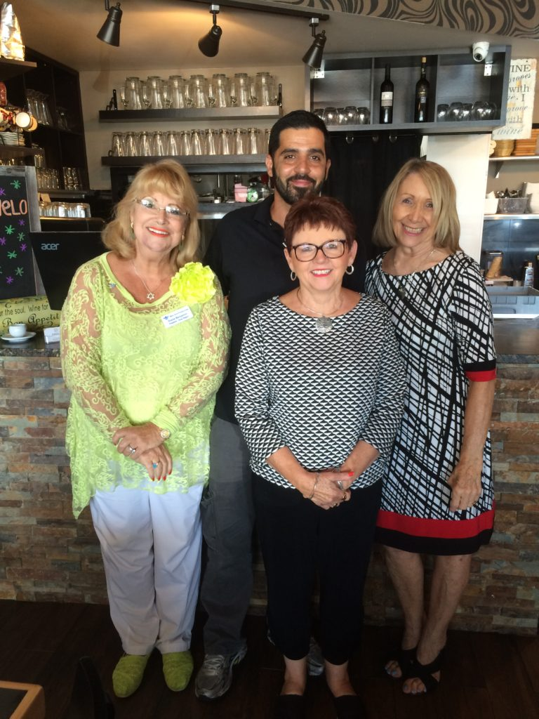 "Submitted photo Meat Point a future gala honoree Yehuda Alali (back) recently welcomed (from left) Diane Benjamin, Ann Stacy and Avrille Harris Cohen to Meat Point. It is a custom of the Texas Region of the Bnai Zion Foundation (www.bnaizion.org)  to welcome our forthcoming gala honoree(s) with a preliminary lunch ""date."" This tradition was accomplished most recently when Avrille Harris-Cohen, Bnai Zion Texas Region executive director, met at the Meat Point kosher restaurant with Texas Region President Diane Benjamin and gala honoree Ann Stacy, an ardent Christian Zionist, who will be the recipient of the America Israel Friendship Award at the annual Bnai Zion Gala scheduled for Nov. 13 at the Westin Galleria, Dallas.  For more information, contact the Bnai Zion office at 972-918-9200.  — Submitted by Diane Benjamin"