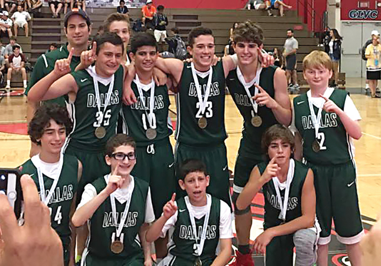 Team Dallas' 14-and-under boys' basketball team won Maccabi gold for the first time in its 34-year history earlier this month. (Far back, standing) Coach Zack Pollack, Jake Duttarer. (Standing, from left) Owen Farris, Tomer Tzur, Robert Tal, Grant Bulmash, Jacob Rosenfeld. (Front) Phillip Prostok, Chase Olswanger, Nathaniel Trink and Alex Witheiler. JCC photo
