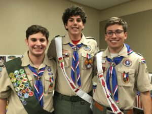 Submitted photo (From left) Eagle Scouts Gavin Shrell, David Golden and Graham Rosen