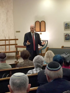Submitted photo Retired Ambassador Yoram Ettinger spoke at an Israel Bonds meeting Aug. 30 at Congregation Ahavath Sholom in Fort Worth.