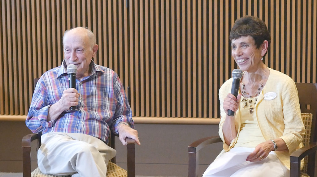 """Photo: Winn Fuqua Bob Weinfeld (left), the """"Mayor of Legacy Willow Bend,"""" found himself on the other side of the microphone when interviewed by Marilyn Israel, executive director of The Legacy Willow Bend, at a June installment of the series."""