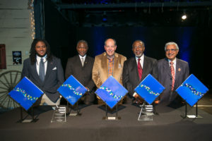 (From left) Biko McMillan, Dr. Terry Flowers, Larry Goldstein, H. Ron White, Madan Goyal
