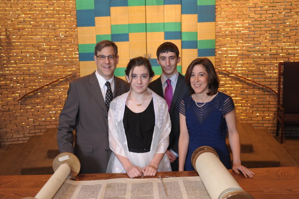 Rabbi Brian and Mimi Zimmerman with their children Saul and Molly at Molly's bat mitzvah a year ago Submitted photo