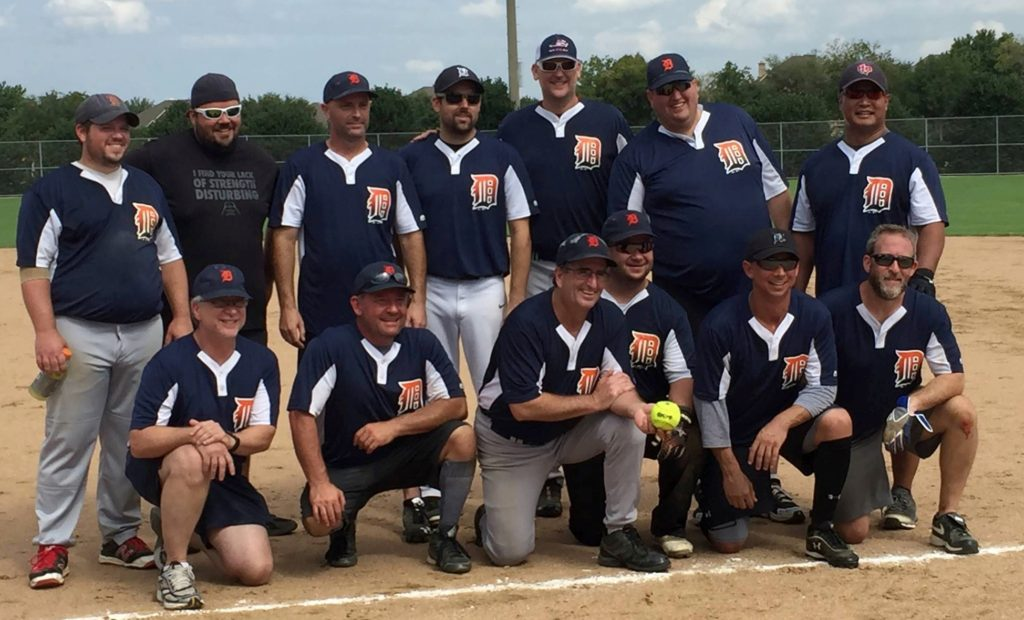 The Temple Shalom Softball League Spring Champions, the Tigers, captained by Brian Conn