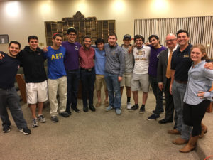 Joining Rabbi David Komerofsky are students from campuses across Tarrant County (from left) Daniel Ribakoff, UTD; Guy Maor, UTD; Evan Cantor, UTD; Elad Banai, UTD; Fred Traylor, UTD; Jonathon Zeevi, UTD; Aaron Biggs, UTD; Benjamin Segall, UNT; Amir Kessler, UNT; Alex Haskel, UNT; Rabbi Komerofsky, Aaron Noble, UTD; and Rachel Rudberg, TCU.