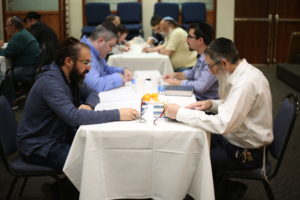 The 36 attendees at Yeshiva Night were split up into pairs, to learn Talmud with the traditional chavruta method used in yeshivas around the world.