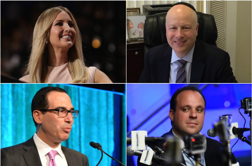 Ivanka Trump (top left), Jason Greenblatt (top right), Steven Mnuchin (bottom left) and Boris Epshteyn (bottom right)