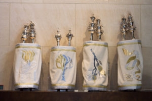 Submitted photos Edythe Cohen purchased new High Holiday Torah covers for Beth-El.