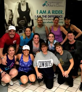Photo: Be The Difference Foundation Wheel to Survive 2017 registrants started spinning at the first of six practice rides leading up to the Feb. 26 event at the JCC.  Registration is now open at wheeltosurvive.org. (Back row, left to right) Rob Shrell, Summer Lindsey, Linda Bezner, Lisa Mize and Jill Sedacca; (middle row) Marissa Shrell, Simone Shrell and Jon Mize; (front row) Julie Shrell, Jill Bach, Deb Silverthorn, Karen Polan.