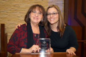 Beth Shalom Congregant of the Year Cookie Kabakoff, left, with Yael Sasley, congregation president