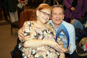 Stuart Snow received the Congregation Beth Shalom David Feld Lifetime Achievement Award. He is pictured with Marian Feld.