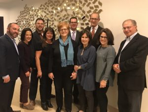 Submitted photo Congregation Anshai Torah's 2017 Arnie Sweet Scholar-in-Residence organizers, title sponsors and CAT board president welcomed Dr. Deborah Lipstadt. (Left to right) Barrett Stern, Cindy Moskowitz, Jacob Ratner, Marcy Kahn, Dr. Deborah Lipstadt, Rabbi Michael Kushnick, Janice Sweet Weinberg, Rabbi Stefan Weinberg, Cathy Brook and Warren Harmel