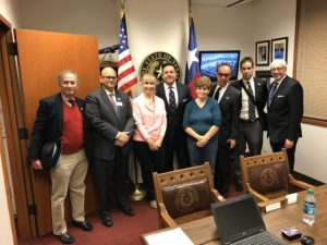 (From left) Allan Shulkin, AJC Regional Director Joel Schwitzer, Hilary Bernhardt, State Rep. Jason Villalba, Bracha Minc, Edward Retta, Zev Shulkin, Stuart Blaugrund
