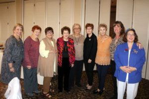 (From left) JWV Ladies Auxiliary officers, Sharon Weinberg, Sabra Klein, Roz Polakoff, Carol Winston, Muriel Romick, Shirley Crane, Alexandra Fincher, Andrea Solka and Sandra Cantor