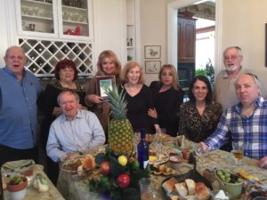 Photo: Gail Mitchell Charles and Kathi Silver held a Tu B'Shevat seder at their home. Seated (from left) are Charles Silver, Marla Hohner and Mike Hohner; standing (from left), Jerry Benjamin, Dorothy Garsson, Diane Benjamin, Kathi Silver, Rosie Bloom and Don Mitchell. Gail Mitchell took the photo.