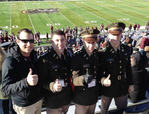 Submitted photo Texas A&M Aggie cadets (left to right) Lt. Marc Wolf, USN (TAMU 2000); 2nd. Lt. David Feibus (TAMU '15); Dan Rosenfield '17; and Wyatt Kamin '17 traveled to West Point for their Warrior Weekend, the impetus for the April 14-16 Jewish Warrior Weekend to take place in College Station. There is no charge for the weekend (other than travel and personal expenses), and travel subsidies are available.