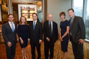 AIPAC Dallas Annual Event Co-chairs Eric and Melanie Pinker, AIPAC Dallas Executive Council Chair Kenny Goldberg, Keynote Speaker Professor Alan Dershowitz and Co-chairs Susie and Joel Carp