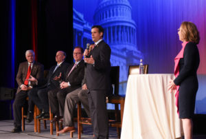 AIPAC National President Lillian Pinkus moderates. (From left) Rep. Pete Sessions, Rep. Louie Gomer, Rep. Bill Flores, Rep. Marc Veasey and Rep. John Ratcliffe