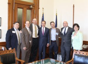 House Speaker Joseph Straus meets with high-level representatives from each Federation. (From left) Jewish Federation of Greater Dallas Board Chair Daniel J. Prescott, Rob Shoss, Robert Simon, Speaker of the House Straus, Kevin Epstein, President and CEO of the Jewish Federation of Greater Dallas Bradley Laye and Executive Director of the JCRC Anita Zusman Eddy.