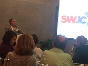 Submitted photo Charles Pulman discusses the Boycott, Divestment and Sanctions movement at the recent Southwest Jewish Congress annual meeting.